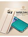 Para Samsung Galaxy Capinhas Com Suporte / com Visor / Flip Capinha Corpo Inteiro Capinha Cor Unica Couro PU Samsung S6