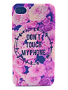 Flowers Pattern Transparent Frosted PC Back Cover For  iPhone 4/4S