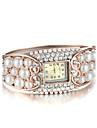 Sjeweler Girls Female Elegant Pearl Rose Gold Plating Bracelet Watch