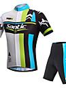 SANTIC® Maillot et Cuissard de Cyclisme Homme Manches courtes Velo Respirable / Resistant aux ultraviolets / Bandes Reflechissantes