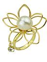 2015 New Fashion Simple Imitation Pearl Big Flower Ring