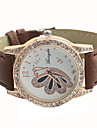 Women's Diamante Round Dial With Butterfly PU Band Quartz Analog Casual Watch Cool Watches Unique Watches