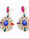 Drop Earrings Gemstone Alloy Statement Jewelry Bridal Drop White Green Rainbow Jewelry 2pcs