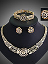 14K Rose-Gold-Filled Austrian Crystal Ancient Egyptian Culture Necklace Bracelet Earrings Ring Jewelry Sets
