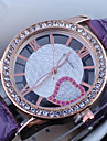 Women's Diamante Round Dial PU Band Quartz Analog Dress Watch Cool Watches Unique Watches