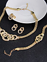 Conjunto de Joias Brinco Pulseira Bijuterias Destaque Vintage Zirconia Cubica Formato Circular Dourado Colares Brincos Aneis Bracelete