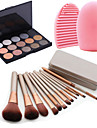 12pcs косметический макияж инструмент румяна основой щетки коробка + 15colors мерцание теней для век Палитра + 1шт инструмент для очистки