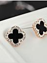 스터드 귀걸이 크리스탈 패션 유럽의 라인석 도금 골드 18K 금 모조 다이아몬드 오스트리아 크리스탈 화이트 블랙 보석류 용 2pcs