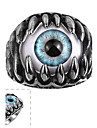 maya anel classica de aco inoxidavel generosa resina delicada olho de gato homem individual (preto) (1pcs)