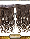 clipe in / on encaracolado castanho claro extensoes de cabelo sintetico