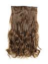 24 polegadas 120g longo encaracolado castanho claro 5 grampo em extensoes do cabelo aquecer fibra sintetica resistente