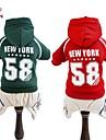 Chien Pulls a capuche Combinaison-pantalon Maillot Rouge Vert Vetements pour Chien Hiver Printemps/Automne Lettre et chiffre Mode Sportif