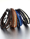 Sales! Vintage Handmade Woven Leather Bracelet Adjustable Flexible Men\'s Bracelet