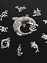 Pingentes Beadia em Metal - Golfinho, Sereia, Peixe, Tubarao (10 Estilos, Prata Antiga)