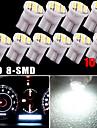 10X Pure White T10 Wedge 8SMD Dashboard Dash Speedometer Instrument Panel Light