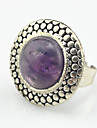 Vintage Look Antique Silver Round Turquoise Amethyst Stone Adjustable Free Size Ring(1PC)