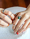 European Style Retro Fashion Simple Imitation Turquoise Ring Set
