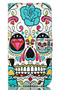 Skull PU Leather Wallet with Card Holder and Stand for Iphone 5 5s 5se 6 6s 6Plus 6sPlus