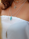 Women\'s Vintage Turquoise Tassel Multilayer Metal Feather Stars Pendant Necklace
