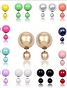 Stud Earrings Simulated Diamond Alloy Ball Red Blue Black/White Navy Rainbow Jewelry Party Daily Casual