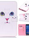 Pour Samsung Galaxy Coque Porte Carte Portefeuille Avec Support Clapet Motif Coque Coque Integrale Coque Chat Cuir PU pour SamsungTab 4