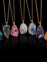 New Colorful Irregular Shape Crystal Natural Stone Pendant Necklace Women Druzy Gold Chain Agate Necklace for Female
