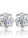 Stud Earrings Silver Sterling Silver Crystal Fashion Flower Silver Jewelry Wedding Party Daily 2pcs