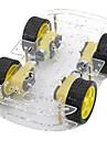 dual-layer 4-motor chassis do carro inteligente w / medicao de velocidade codificado disco - preto + amarelo