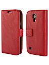 Pour Samsung Galaxy Coque Portefeuille Porte Carte Avec Support Clapet Coque Coque Integrale Coque Couleur Pleine Cuir PU pour SamsungS4