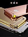 novo luxo banhado aluminio armacao de metal + espelho acrilico de volta caso de concha cobertura para 5.5inch iphone6plus