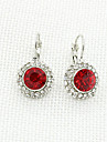 Women\'s Fashion Rhinestone Silver Plate Metal Round Crystal Earrings