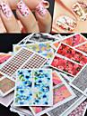 50 Sticker Manucure  Autocollants de transfert de l\'eau Autocollants 3D pour ongles Fleur Abstrait Maquillage cosmetique Manucure Design
