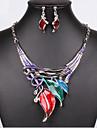 Conjunto de Joias Colorido Joias de Luxo bijuterias Imitacoes de Diamante Brincos Colar Para Festa Presentes de casamento