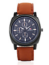 Men's Fashion Round Leather Wristwatches Glass Analog Quartz Watch Casual Business Style Wrist Watch Cool Watch Unique Watch