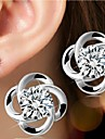Earring Flower Stud Earrings Jewelry Women Birthstones Wedding / Party / Daily / Casual / Sports Silver / Sterling Silver 1pc Silver