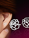 2016 Korean Unisex 925 Silver Sterling Silver Jewelry Earrings Hollow Rose Flower Stud Earrings 1Pair