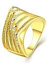 Кольцо Цирконий Позолота Позолоченное розовым золотом 18K золото Имитация Алмазный Классика Мода Золотой Розовый БижутерияСвадьба Для