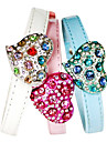 Dog Collar Adjustable/Retractable / Rhinestone White / Blue / Pink PU Leather