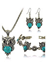 Women\'s European Fashion metal Imitation Turquoise Cute Little Owl Necklace Earrings Bracelet Set