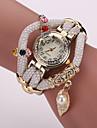 Mujer Reloj de Moda / Reloj Pulsera Cuarzo Brillante / La imitacion de diamante PU Banda Destello / Hojas / PerlasBlanco / Azul / Rojo /