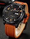 NAVIFORCE Men\'s Military Watch Calendar Quartz Japanese Quartz Leather Band Casual Luxury Black Orange Brown