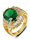 2016 New Luxurious 18K Gold Plated Green Rhinestone Engagement Rings For Women
