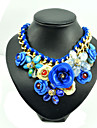 Women\'s Pendant Necklaces Collar Necklace Gemstone Alloy Rose Blue Jewelry Party Daily 1pc