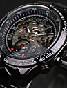 Men's Skeleton Auto Mechanical Black Stainless Steel Band Wrist Watch Cool Watch Unique Watch
