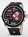 WEIDE® Men\'s Brand Luxury Analog & Digital Three Time Black Leather Quartz Watch Cool Watch Unique Watch