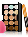 15 Color Concealer Palette + Wooden Handle Brush + Sponge Puff Makeup Base Foundation Concealers for Makeup
