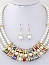 Conjunto de Joias Colar / Brincos Cristal Moda Europeu Multi Camadas Perola imitacao de diamante Arco-Iris Colares Brincos ParaFesta