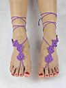 женская ручной работы крючком хлопка йоги лодыжки цепи щиколотке пять цветов босиком сандалии