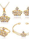 Стразы Позолоченное розовым золотом Сплав В форме короны Золотой Ожерелья Серьги Кольца Браслеты Для Для вечеринок Повседневные 1 комплект