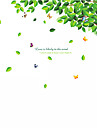 Green Tree Flying Leaves With Butterfly Wall Stickers Leisure Fashion TV Wall Decals Removable PVC Wall Art